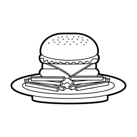 Hamburguesa francés hamburguesas fritas comida rápida deliciosa comida almuerzo vector illustration Foto de archivo - 86100191