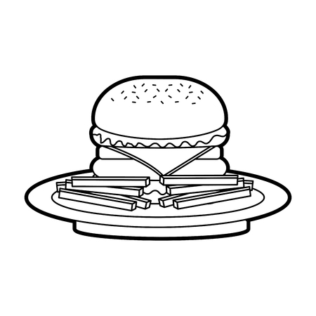 burger french fries fast food tasty delicious snack lunch vector illustration