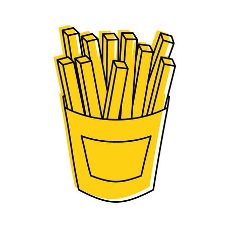 Franse frietjes Fast Food Aardappel Verse Vectorillustratie