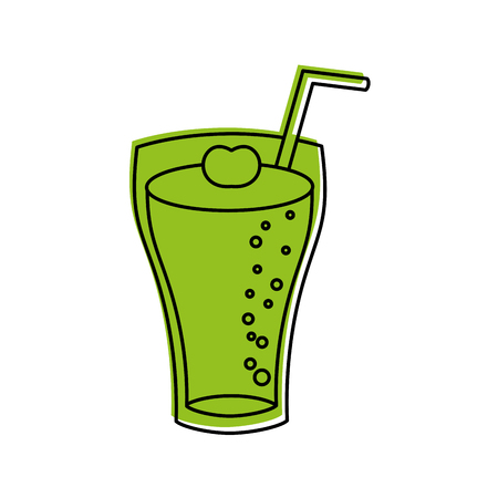 decorate: glass of lemonade with drinking straw vector illustration