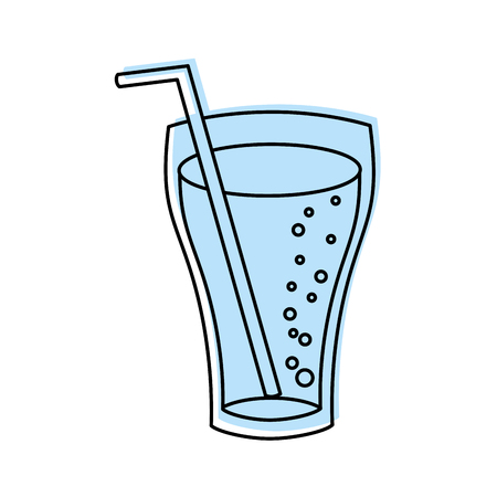 glass cup soda drink bubbles refresment liquid vector illustration