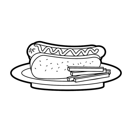 패스트 푸드 핫도그 소세지 감자 튀김과 겨자 저녁 벡터 일러스트 레이션