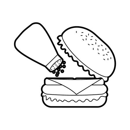 Burger fast-food délicieux délicieux déjeuner snack illustration vectorielle Banque d'images - 86141582
