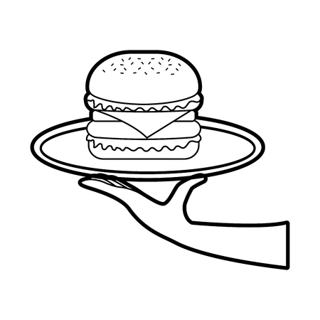 hand holding burger in dish fast food tasty delicious snack lunch vector illustration Ilustrace
