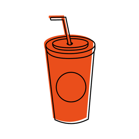 plastic soda cup with straw disposable takeaway vector illustration