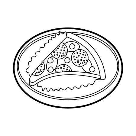 fast food pizza with cheese pepperoni tasty vector illustration 向量圖像