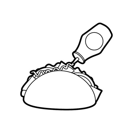 fast food taco mexican ketchup bottle menu restaurant vector illustration