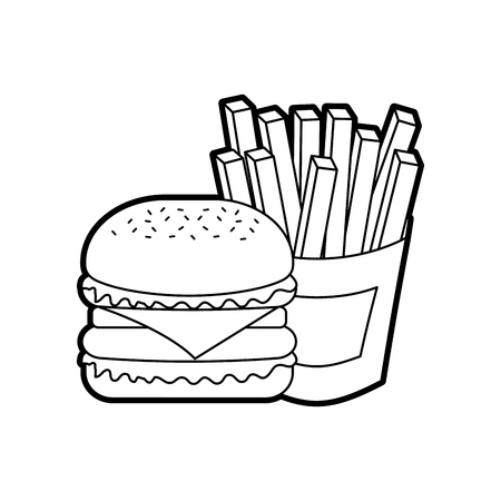 Hamburger francese patatine fritte barbecue gustoso deliziosa illustrazione vettoriale pranzo pranzo Archivio Fotografico - 86141606