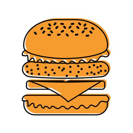 Fast food hamburger gustoso deliziosa illustrazione vettoriale pranzo pranzo Archivio Fotografico - 86141614
