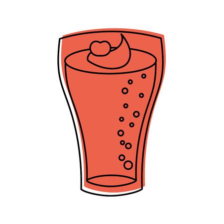 グラスにクリームを添えたミルクセーキストロベリードリンクベクターイラスト