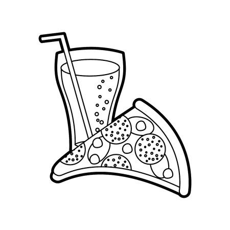 チーズを使ったファーストフードのピザペパロニおいしいとソーダベクトルイラスト
