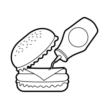 ケチャップ付きバーガーファストフードおいしいおいしいスナックランチベクトルイラスト  イラスト・ベクター素材