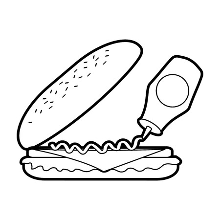 fast food sandwich pouring mustard menu restaurant lunch vector illustration
