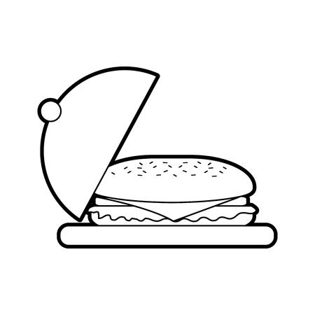Fast-Food-Sandwich Teller Menü Restaurant Mittagessen Vektor-Illustration Standard-Bild - 86141652