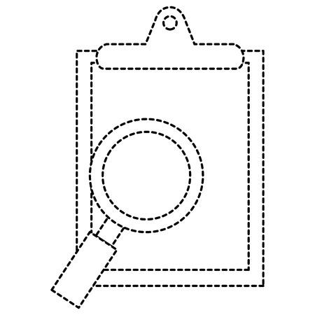 pharmacy symbol: medical order with magnifying glass vector illustration design