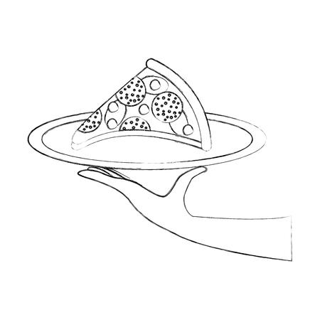 チーズ ピーマンおいしいファーストフード ベクトル図とピザを持っている手
