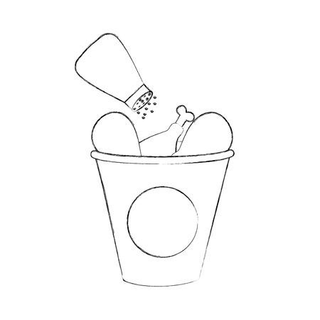 fast food bucket roasted chicken menu vector illustration Иллюстрация