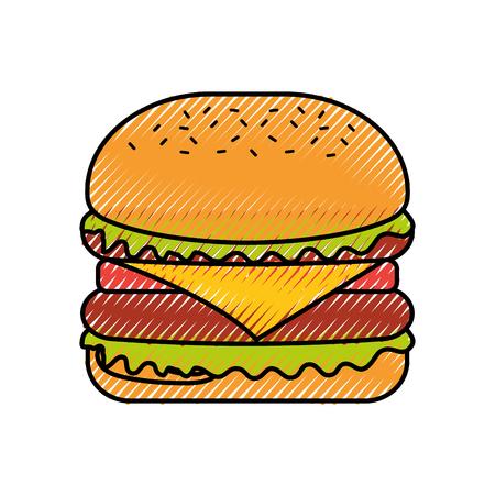 Hamburger fast food gustoso delizioso spuntino pranzo illustrazione vettoriale Archivio Fotografico - 86141675