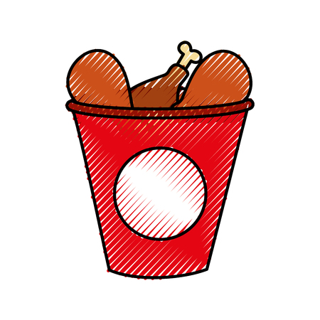 fast food bucket roasted chicken menu vector illustration Çizim
