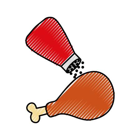fast food roasted chicken menu restaurant vector illustration Illustration