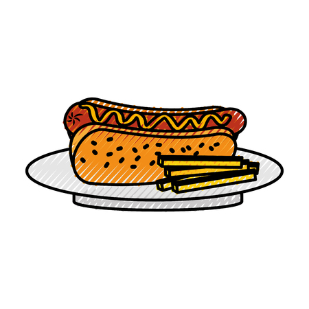 fast food hot dog sausage french fries and mustard dinner vector illustration