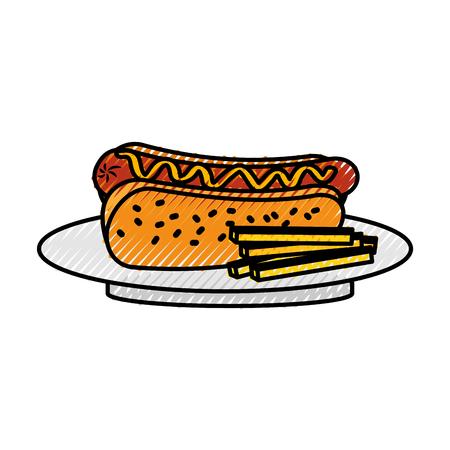 Salchicha de perro caliente de comida rápida papas fritas y cena de mostaza ilustración vectorial Foto de archivo - 86141717