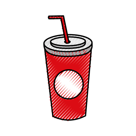 copo de refrigerante de plástico com ilustração descartável descartável de vetores de palha Ilustración de vector