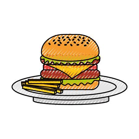 Hamburger francese patatine fritte barbecue gustoso deliziosa illustrazione vettoriale pranzo pranzo Archivio Fotografico - 86141722