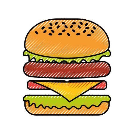 햄버거 패스트 푸드 맛있는 맛있는 스낵 점심 벡터 일러스트 레이션