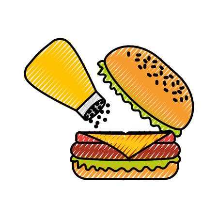 Burger fast-food délicieux délicieux déjeuner snack illustration vectorielle Banque d'images - 86141737