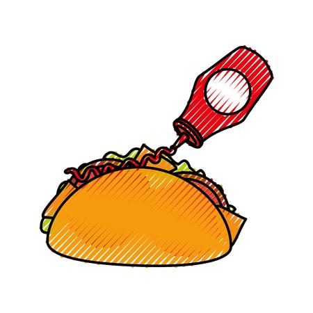 Fast food taco messicano ketchup bottiglia menu ristorante illustrazione vettoriale Archivio Fotografico - 86141743