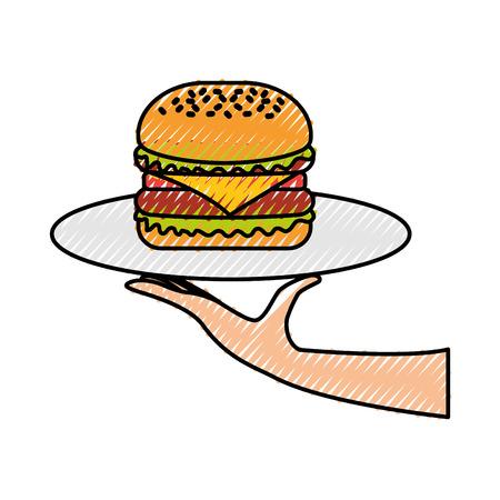 Mano che tiene hamburger in vassoio fast food gustoso deliziosa illustrazione vettoriale pranzo Archivio Fotografico - 86141746