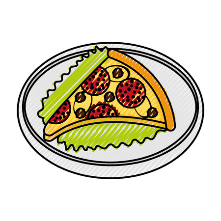 fast food pizza with cheese pepperoni tasty vector illustration Illustration