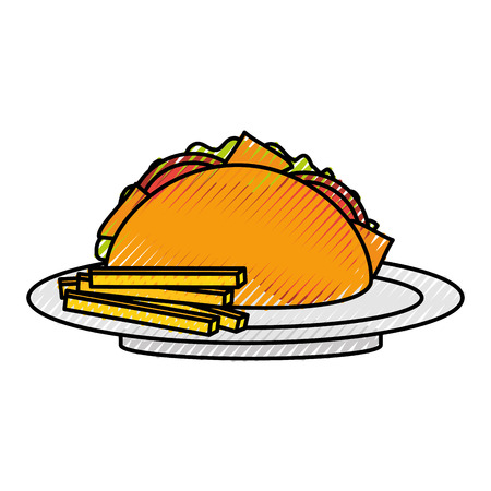 fast food taco french fries mexican menu restaurant vector illustration Ilustração