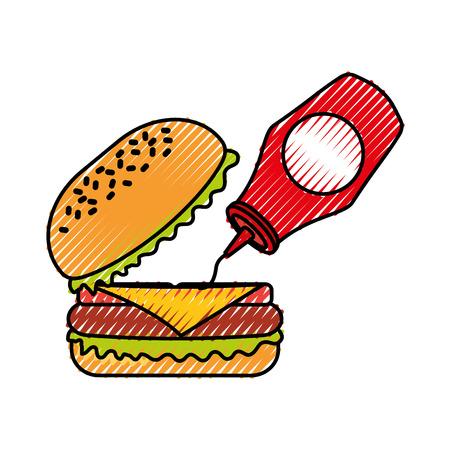 Burger mit Ketchup Fast Food lecker lecker Snack Mittagessen Vektor-Illustration Standard-Bild - 86141758