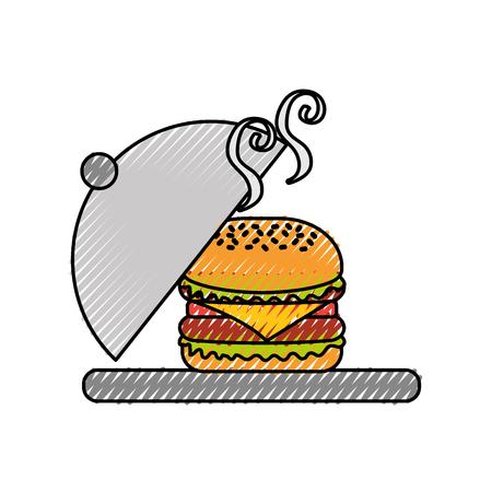 バーガーファストフードおいしいおいしいスナックランチベクトルイラスト