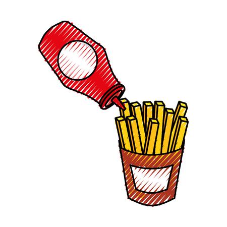 케첩과 함께 감자 튀김 패스트 푸드 맛있는 신선한 벡터 일러스트 레이션 일러스트