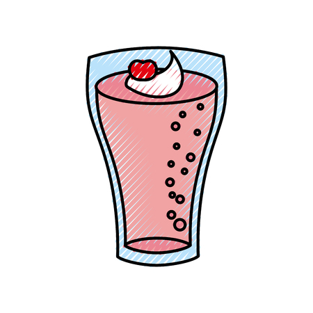 milkshake with cream in glass strawberry drink vector illustration