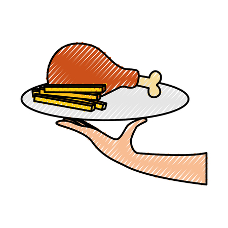 hand holding fast food roasted chicken and french fries menu restaurant vector illustration