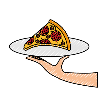 チーズでピザを手にするペパロニおいしいファストフードベクトルイラスト