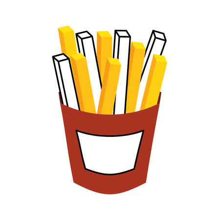 french fries fast food tasty fresh vector illustration