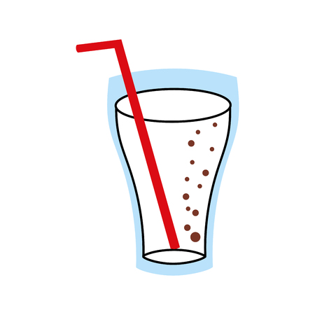 glass cup cola drink bubbles refresment liquid vector illustration