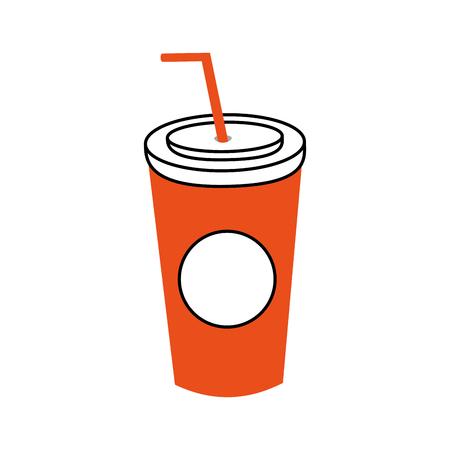 わらの使い捨て持ち帰り用のベクトル図とプラスチック ソーダ カップ