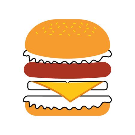 Fast food hamburger gustoso deliziosa illustrazione vettoriale pranzo pranzo Archivio Fotografico - 86100290
