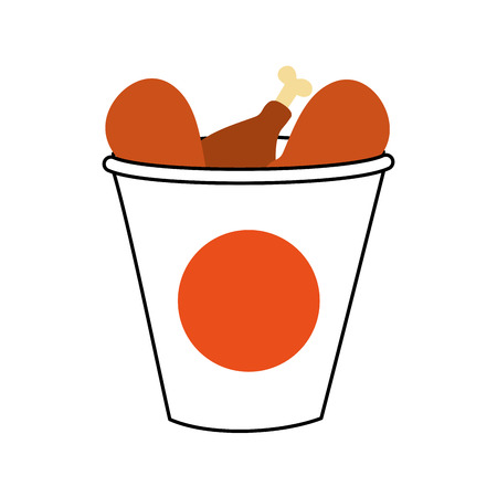 fast food bucket roasted chicken menu vector illustration Illustration