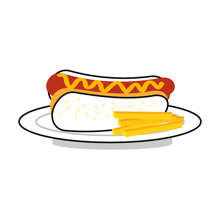 fast food hot dog sausage french fries and mustard dinner vector illustration 版權商用圖片 - 86100302