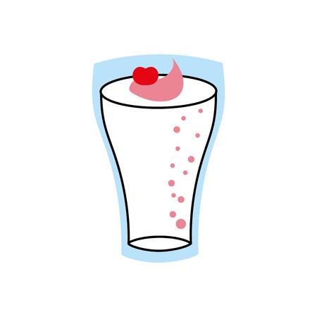 Milkshake con crema in vetro fragola drink illustrazione vettoriale Archivio Fotografico - 86100304
