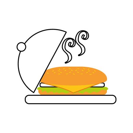 ファーストフードのサンドイッチ プレート メニュー レストラン ランチ ベクトル図  イラスト・ベクター素材