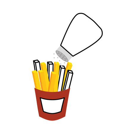 french fries and salt fast food delicious fresh vector illustration