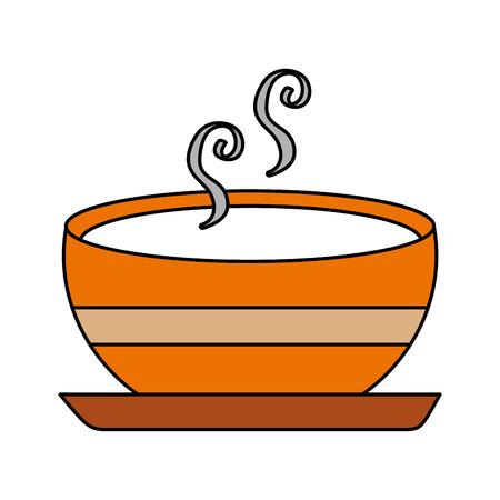 delicious soup bowl food of season autumn vector illustration